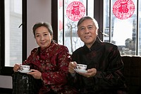 Chinese mature couple drinking tea