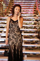 Chinese Woman In Evening Wear Calling