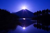 Morning Sun, Mt. Fuji, Tanuki Lake, Fujinomiya, Shizuoka, Tokai, Japan