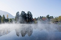 Lake Kinrin, morning mist, red leaves, Yufu, Oita, Kyushu, Japan, November