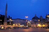 Rome_ Piazza del Popolo by night showing the twin Santa Maria Churches