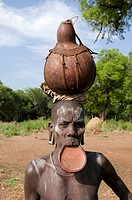 Musi women with plate in her lips Mago National Park Omovalley Ethiopia Africa