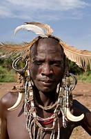 Man from the Mursi tribe Omovalley Ethiopia Africa