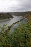 View for the Rhinevalley in late autumm Loreley Germany