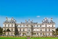 LUXEMBOURG GARDEN AND SENAT BUILDING PARIS FRANCE