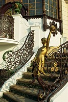 Art nouveau staircase at Hanava Pavilion, Prague, Czech Republic, Europe