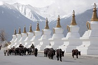 Buddhist stupas, Deqin, called Shangri_La, on the Tibetan Border, Shangri_La region, Yunnan Province, China, Asia