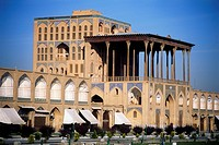 geography / travel, Iran, Isfahan, castles, Ali Qapu Palace, built: 16th century by Shah Abbas I, exterior view with garden, Asia, Near East, Orient, ...