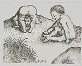 people, children, two boys playing nude, copper engraving, late 15th century, middle ages, fine arts, graphic, historic, historical,