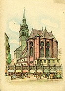 geography/travel, Germany, Munich, churches, Saint Peterœs Church, exterior view, Eastern side, postcard after watercolour by Büttner, 1946, catholic ...