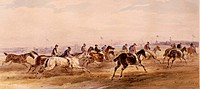 sports, horse race on Oktoberfest, Theresienwiese, Munich, Germany, 1874, watercolour, 36,4 x 17,1 cm, Munich Stadtmuseum, historic, historical, 19th ...