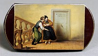 people, professions, maid, manservant molesting the maid, enamel painting, cigarette case, mid 19th century, women, woman, men, man, sexual harassment...