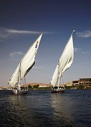 Felucca Sailing Boat on the River Nile near Aswan, Egypt