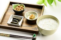 Chinese Porridge with side dishes, Close Up