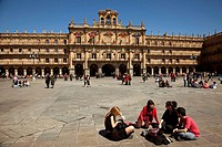 Students in Main Square, Salamanca. Castilla-Leon, Spain