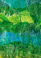 Rhapsody of Colors 2, Abstract art in green and blue Mixed Media.