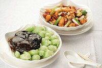 Two dishes of Chinese cuisine
