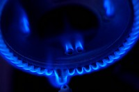 Blue flame of natural gas furnace, close_up blurred motion