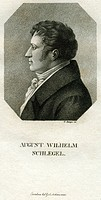 Schlegel, August Wilhelm von, 8.9.1767 _ 12.5.1845, German author / writer and translator, portrait, engraving by G.Zumpe, 19th century, critic, poet,...