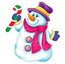 Snowman with hat and scarf, holding a candy cane
