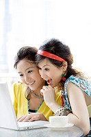 Two young women looking at laptop at cafe, smiling, portrait