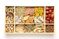 Chinese herbal medicines in box, still life