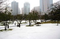 China, Shanghai, city scene with snow