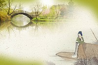 Traditional Chinese_styled art, with a Chinese woman on a boat, a bridge in the distance