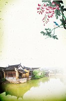 Digitally generated image of Chinese_styled painting of flowers, above a lakeside with old houses