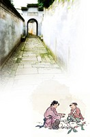 Chinese_styled painting of two children feeding a rabbit, with a corridor in the background, digitally generated image