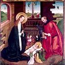 Ü Kunst, Sakralkunst, Jesus Christus, Geburt Christi, Gemälde, Nachfolger von Stephan Locher, Mitte 15. Jh., Altar des Augustinerinnenklosters In der ...