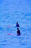 Two men standing in the sea and holding the surfboard