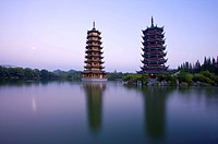 Twins Tower in Guilin, Guangxi Province, China