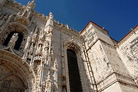 South gate. Mosteiro dos Jeronimos. Built in the early 16th century. Belem, Lisbon, Portugal