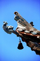 Details of roof decoration on the memorial archway at the entrace of Mogao Grottoes, Dunhuang, Gansu Province, China