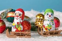 Weihnachtskugeln Christbaumschmuck Zwei Oblaten und Printen in der Mitte bilden den Christmasburger