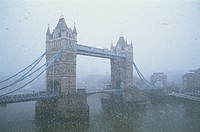 England, London, Tower Bridge in Snow Storm