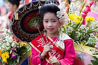 Thailand, Chiang Mai, Portrait of Girl in Traditional Thai Costume at the Chiang Mai Flower Festival