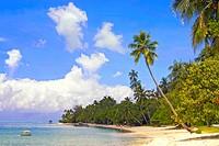 Image of a beautiful beach at a lagoon on Bora Bora Island, French Polynesia.