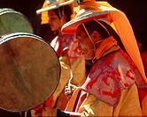 Musician_monks at Mane Rimdu festival, Thyangboche, Nepal