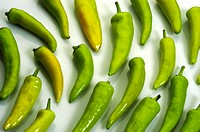 GREEN CHILLIES, VEGETABLE DISPLAY