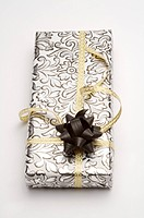 Close_up of a wrapped gift with beautiful packaging