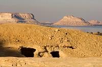 Ancienttombs on Gebel Al_Matwa, Mountain of the dead, Siwa oasis, Egypt