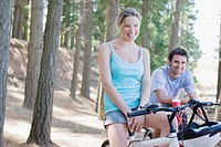 Couple bike riding in remote area