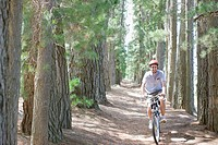 Man bike riding in remote area