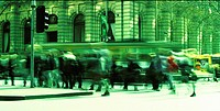 Panoramic  An office worker rushes across a street with vehicles blurred as they drive by.A winter lunchtime.Shot Melbourne July 2002 agent 109 Ewing