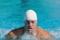 Australian athlete with swimming cap