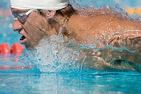 Australian swimmer breathing while doing swimming