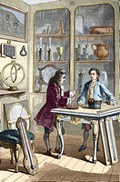 Rene Reaumur 1683_1757, French naturalist and technologist, making his first thermometer in 1731. Reaumur at left devised a thermometer which used a m...