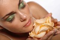 Woman roses petals.